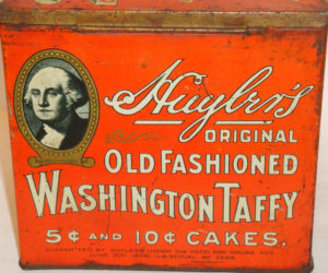 Washington's name and face were used by companies to sell many different products, such as taffy.