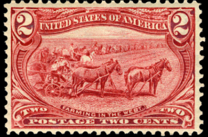 Farming in the West, 2-cent, 1898 (Photo, National Postal Museum Collection)