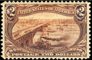Mississippi River Bridge, 2-dollar, 1898 (Photo, National Postal Museum Collection