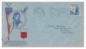The first day cover stamped in Kosciuszko, Mississippi, 1932