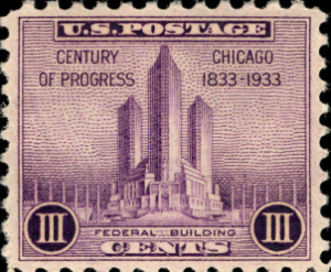 Up 3-cent Federal Building stamp commemorating Chicago's Century of Progress International Exposition, 1933 (Smithsonian National Postal Museum Collection