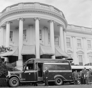 Philatelic truck at White House. Washington, D.C., May 9 (Library of Congress photo)