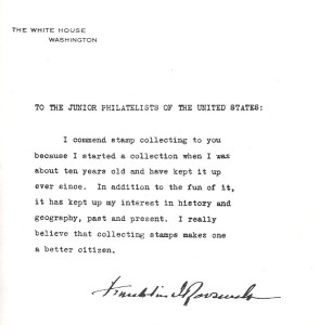 Welcome letter from FDR, A Description of United States Postage Stamps, Junior Edition