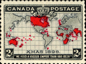 British Empire on Mercator Map, 2-cent Canada, (photo, Smithsonian National Postal Museum Collection)