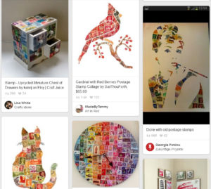 Screenshot of Pinterest.com boards including suggestions for art and craft projects using stamp collections.